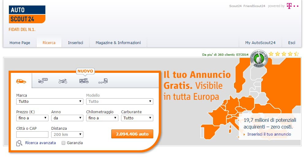 Homepage di Autoscout24