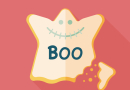 Halloween cookies flat icon with long shadow,eps10